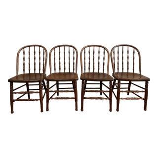 Antique Windsor Hoop Back Chairs - Set of 4 For Sale