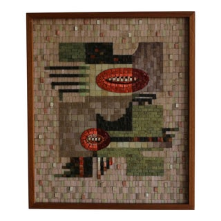 1950s Vintage Phyllis Wallen Glass Mosaic Relief Panel For Sale