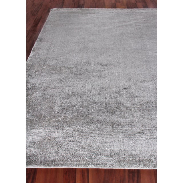 Exquisite Rugs Milton Hand Loom Viscose Light Silver - 6'x9' For Sale - Image 4 of 8