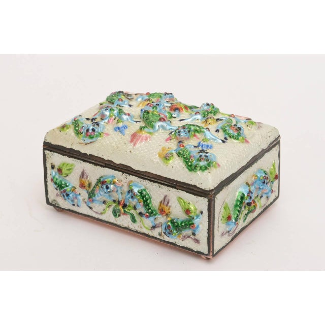 "Vintage Chinese Rare Metal and Enamel ""Good Luck"" Box For Sale In Miami - Image 6 of 10"
