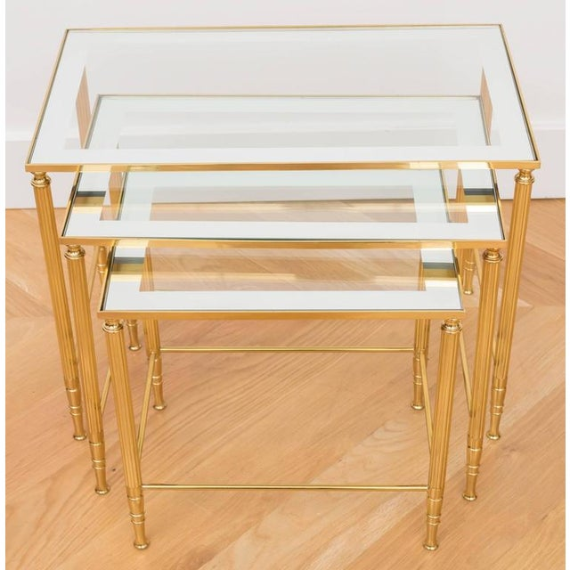 Italian Italian Brass Nesting Tables - Set of 3 For Sale - Image 3 of 6