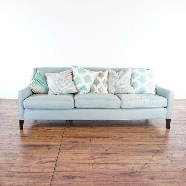 Blue Mitchell Gold + Bob Williams Upholstered Sofa For Sale - Image 8 of 10