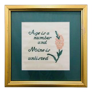 Vintage Cross Stitch in Frame For Sale