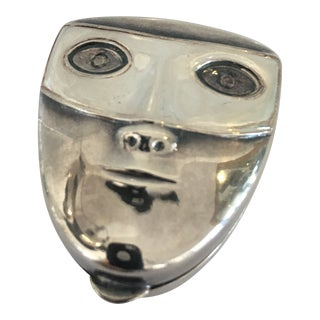 Sterling Silver Verdura Mask Pill Box For Sale
