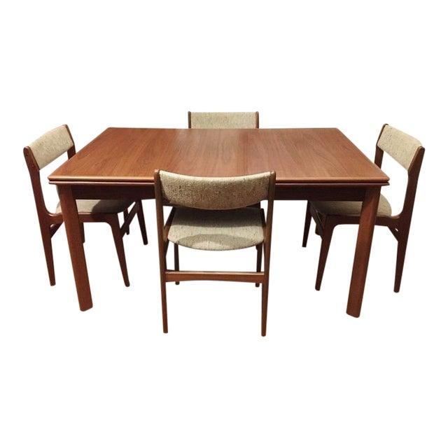 Furbo Mid Century Danish Teak Expandable Dining Table Chairs Set Of 5 Chairish