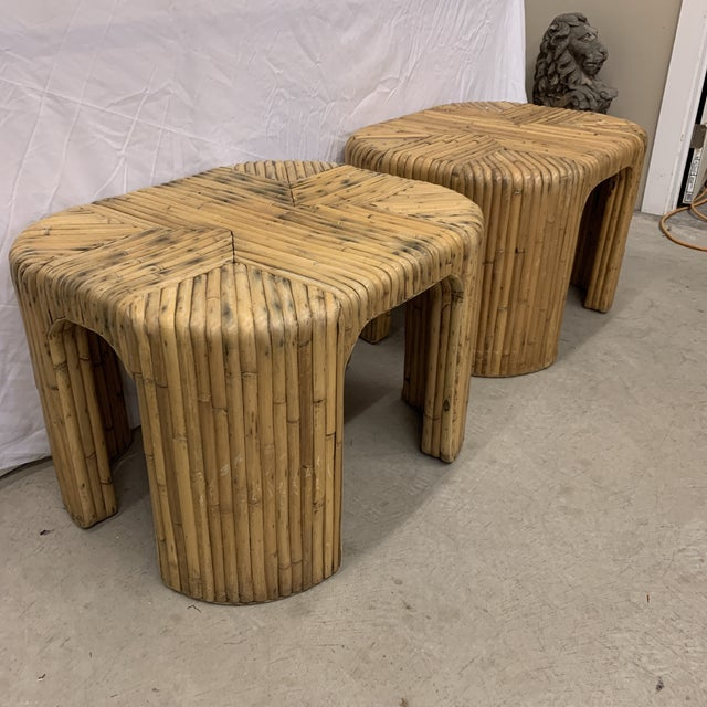 Boho Chic Vintage Split Reed Waterfall End Tables - Pair For Sale - Image 3 of 13