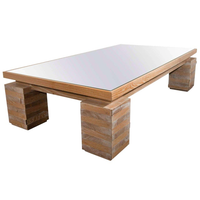 Monumental Limed Oak Coffee Table in the Manner of Paul Dupré-Lafon For Sale