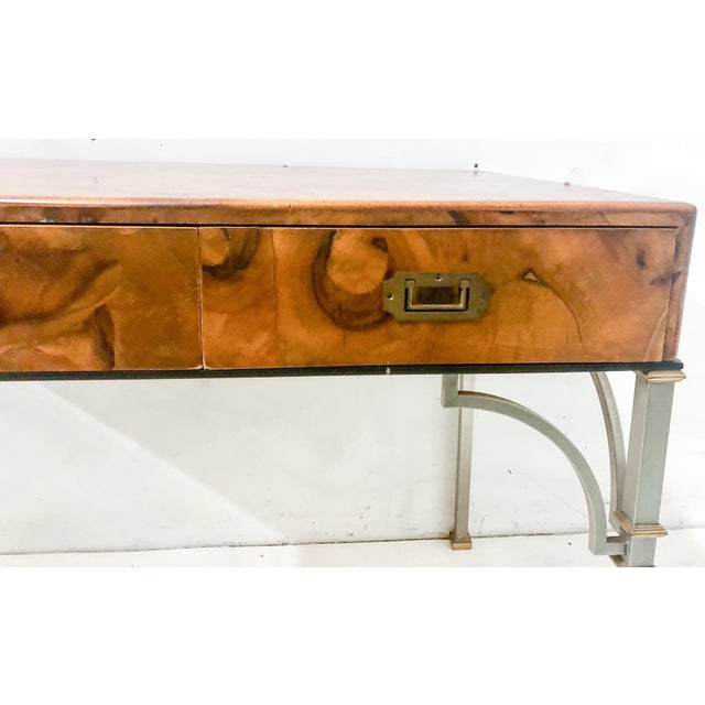 Campaign Style Italian Burlwood Desk and Chair For Sale In Atlanta - Image 6 of 9