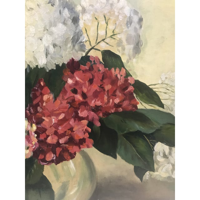 1950s 1952 Oil Painting by H G White, Still Life Hydrangeas For Sale - Image 5 of 8