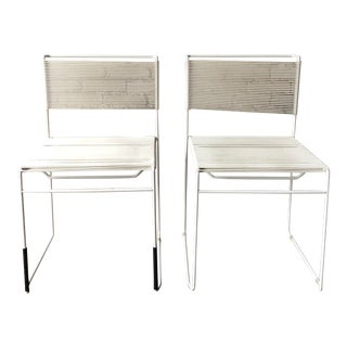 """Vintage 1970s White """"Spaghetti"""" Giandomenico Belotti for FlyLine Dining Chairs - a Pair For Sale"""