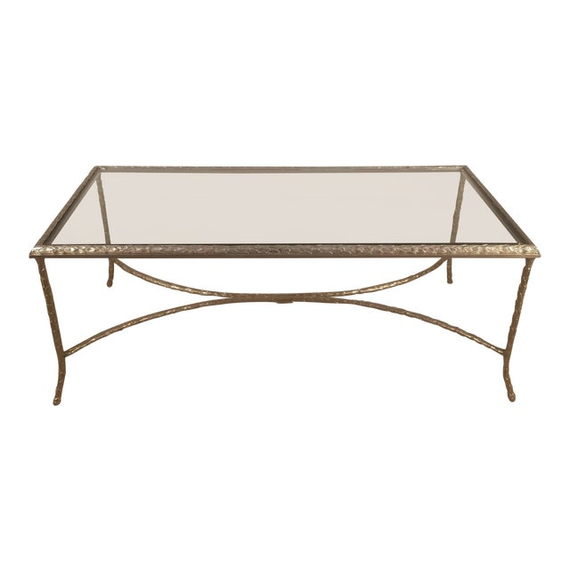 Large Silvered Bronze Cocktail Table by Maison Baguès For Sale