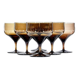 1960s Brown Ovoid Glass Coupes - Set of 7