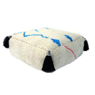 Large Moroccan Abstract Wool Pouf For Sale