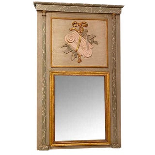 19th Century French Painted Trumeau Mirror For Sale