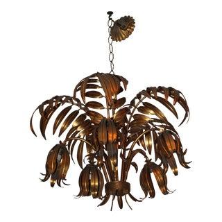 Maison Bagues French Art Deco Gilt Tole/ Dore 5 Light Palm Frond Chandelier For Sale