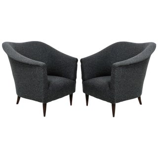 1950's Parisi Style Grey Wool Sculptural Armchairs - a Pair