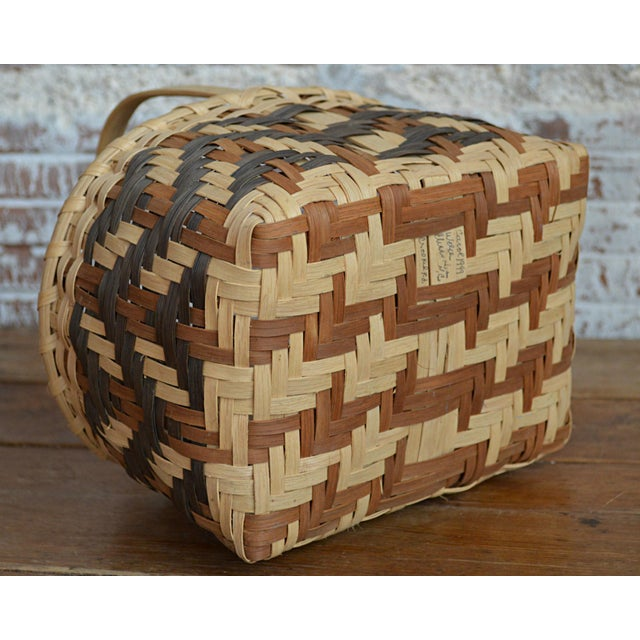 Brown Carol Welch Cherokee White Oak Small Market Basket For Sale - Image 8 of 9