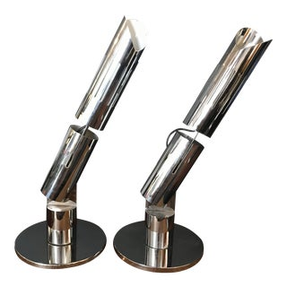 1970's Articulating Chromed Table Lamps by Gabriel D'Ali for Francesconi Italy - a Pair For Sale
