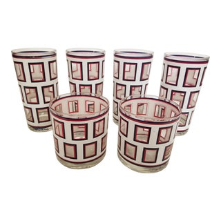 Mid 20th Century Georges Briard Red, White, and Navy Windowpane Glassware - Set of 6 For Sale