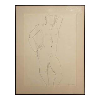 1960 Gertrude Barnstone Abstract Pen Contour Line Drawing of Standing Male Nude, Framed For Sale