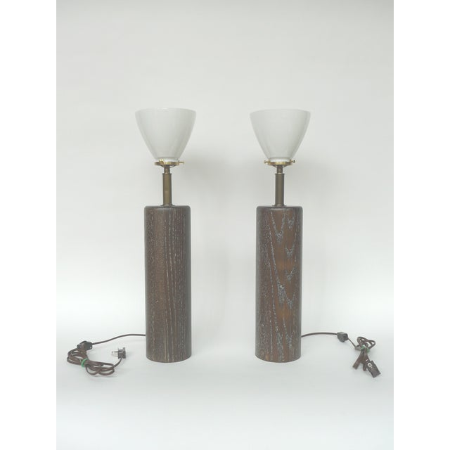 Nessen Studios Brown Cerused Oak Lamps - A Pair - Image 2 of 10