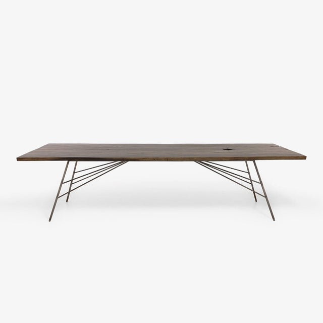Industrial Viento Ray Dark Steel and Reclaimed Wood Dining Table For Sale - Image 10 of 13