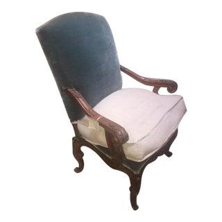 18th C. Venetian Blue Silk Velvet Carved Walnut Arm Chair For Sale