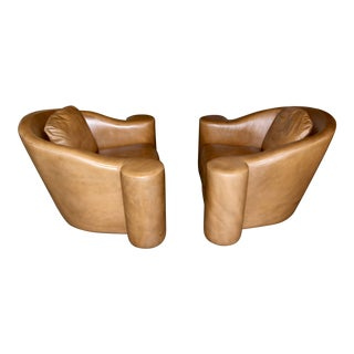 1994 Steve Chase Leather Swivel Club Chairs - A Pair For Sale