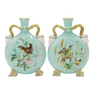 English Victorian Celadon Porcelain Vases For Sale