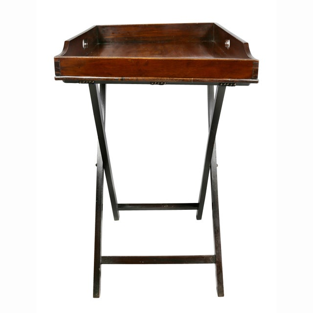 Victorian Mahogany Tray Table on Stand For Sale In Boston - Image 6 of 8
