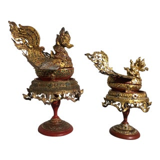 Burmese Bird Form Offering Boxes, Mandalay Period, late 19th century For Sale
