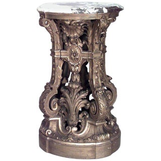 19th Century French Louis XV Style Gilt Carved and Filigree Pedestal For Sale