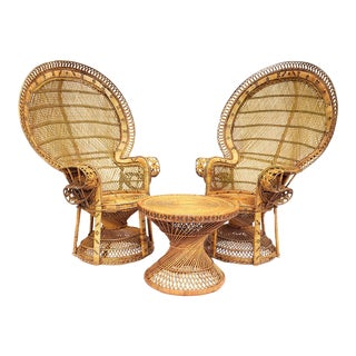 1970s Boho Chic Bamboo and Rattan Peacock Chair and Side Table Patio Furniture - Set of 3