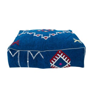 Moroccan Blue Patterned Wool Pouf
