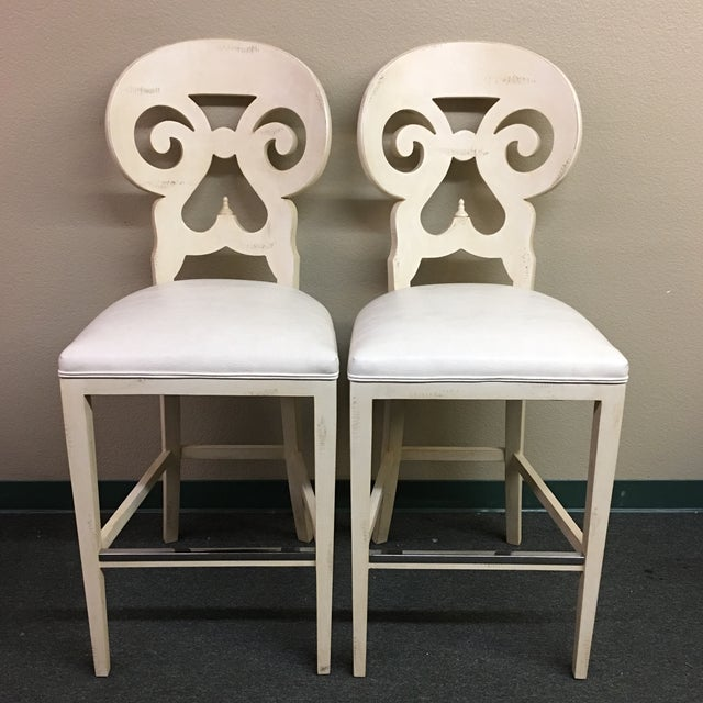 Biedermeier Style Counter Height Distressed White Barstools - A Pair - Image 2 of 11