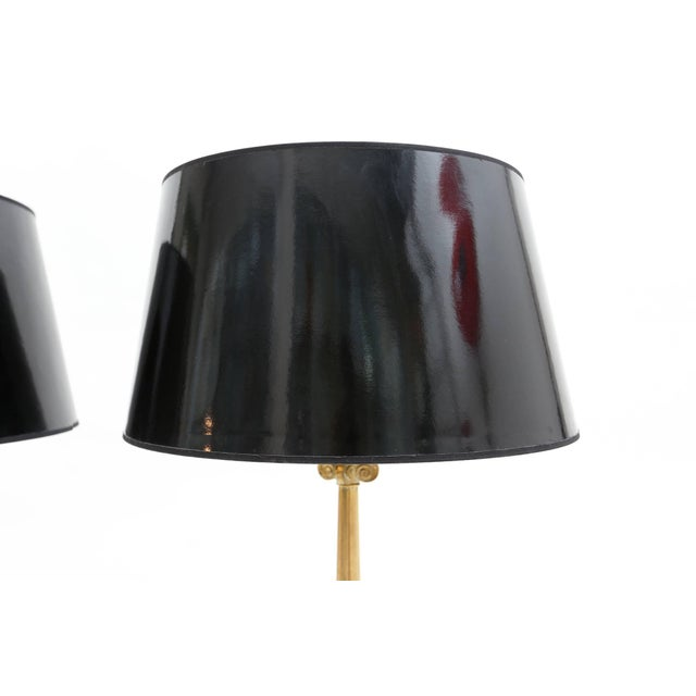 Maison Jansen Style Brass Hollywood Regency Lamps For Sale - Image 6 of 7