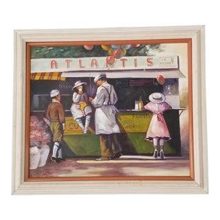 80's Austin Figurative Still Life - Ice Cream Vintage Painting . For Sale