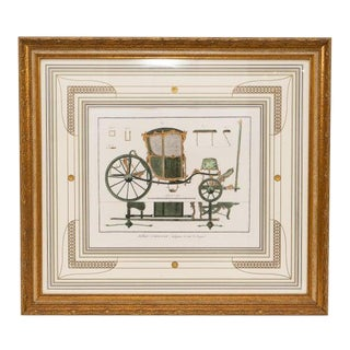 Hand Tinted Gold Accented Original French Engraving of an Antique Carriage For Sale