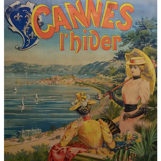 Original 1892 Cannes L'Hiver, Casino Des Fleurs French Poster For Sale - Image 4 of 11