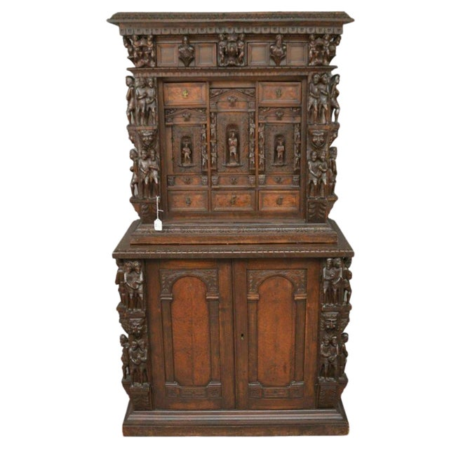 "Antique Heavily Carved Continental Court Two Piece 65"" Cabinet/Cupboard For Sale - Image 13 of 13"