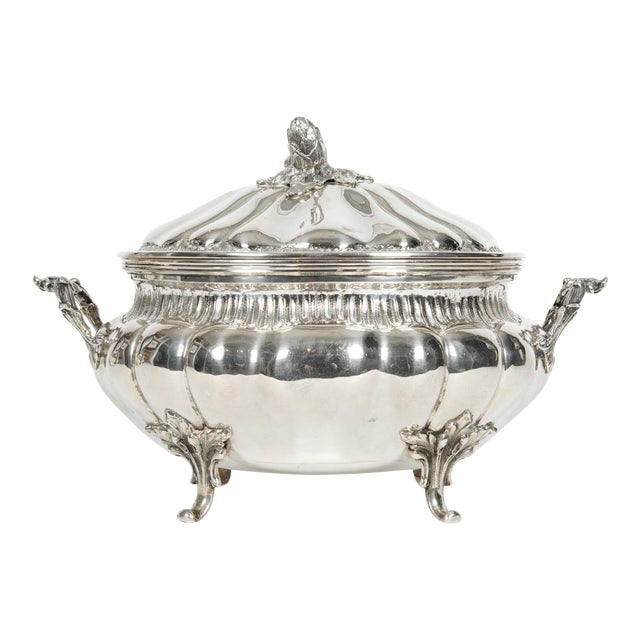 Large Antique Sterling Silver Two Piece Covered Tureen For Sale