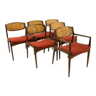 Mid-Century Modern Kofod Larsen for Selig Burnt Orange Upholstered Dining Chairs - Set of 6
