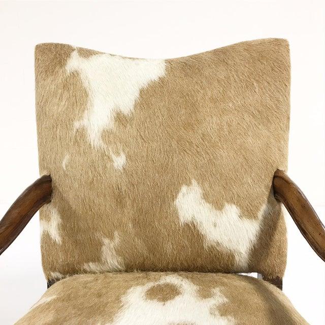 1770s Antique Italian Walnut Armchair Restored in Brazilian Cowhide - Image 8 of 10