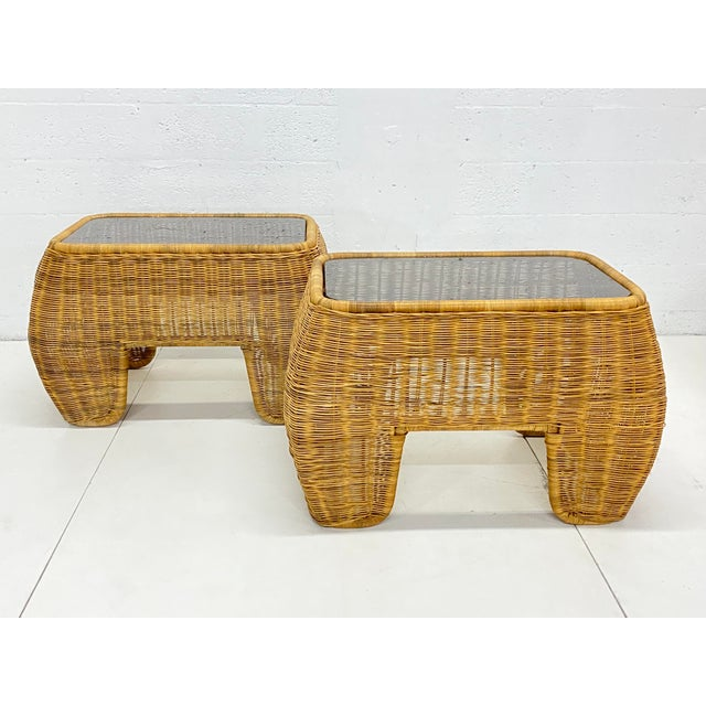 Mid-Century Modern Hand Made Sculptural Wicker Rattan Side Tables - a Pair For Sale In Miami - Image 6 of 13