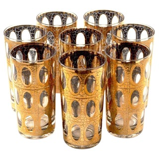 Vintage Culver Pisa Gold Crackle Tumbler Highball Collins Bar Glasses Set of 8 For Sale