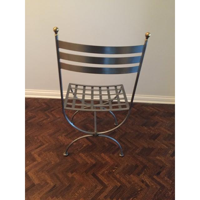 Brass Brass & Iron Savonarola Side Chair For Sale - Image 7 of 9