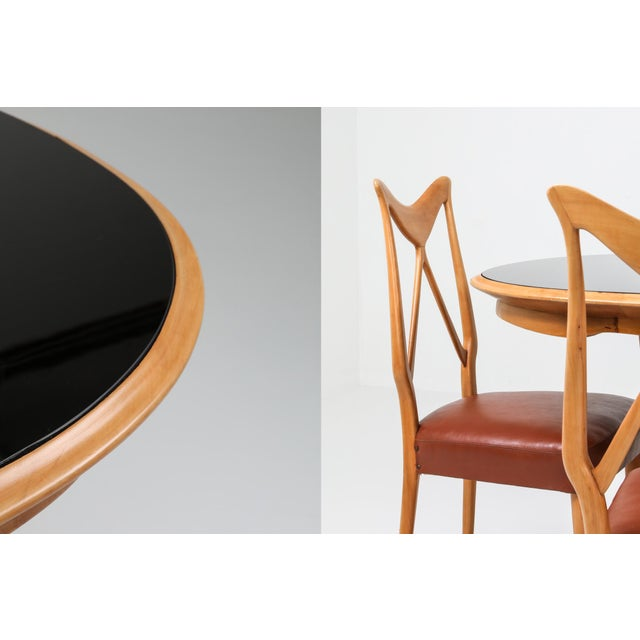 1970s Oak & Leather Dining Chairs in the Style of Ponti - Set of 6 For Sale - Image 11 of 12