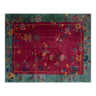 "Chinese Art Deco Floral Rug - 8'9""x11'6"" For Sale"