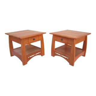 Amish Mission Style Modern Cherry Wood Nightstands - A Pair For Sale