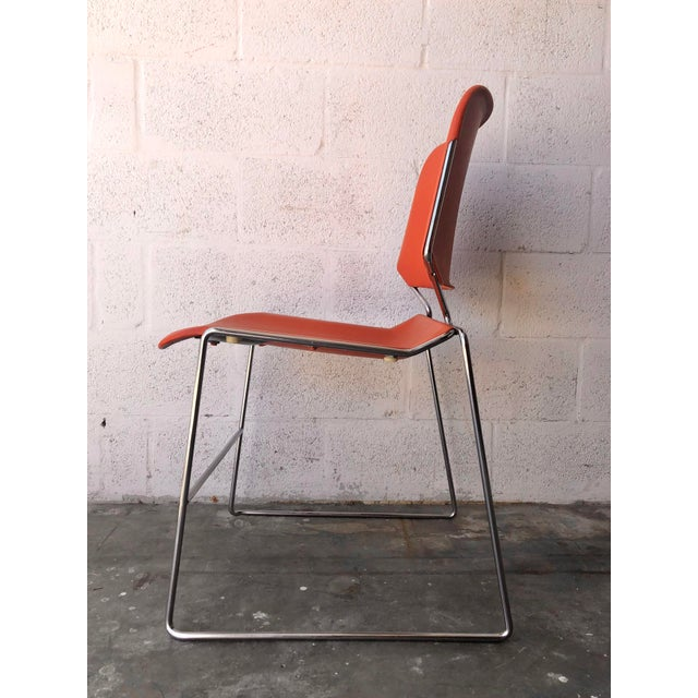 Metal Vintage Mid Century Modern Matrix Krueger Stackable Chairs- Set of Two. For Sale - Image 7 of 13
